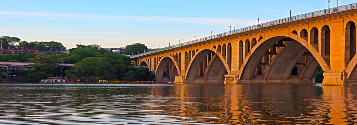 Arlington, VA real estate. The Key Bridge connects Georgetown in Washington, D.C. to Arlington, VA